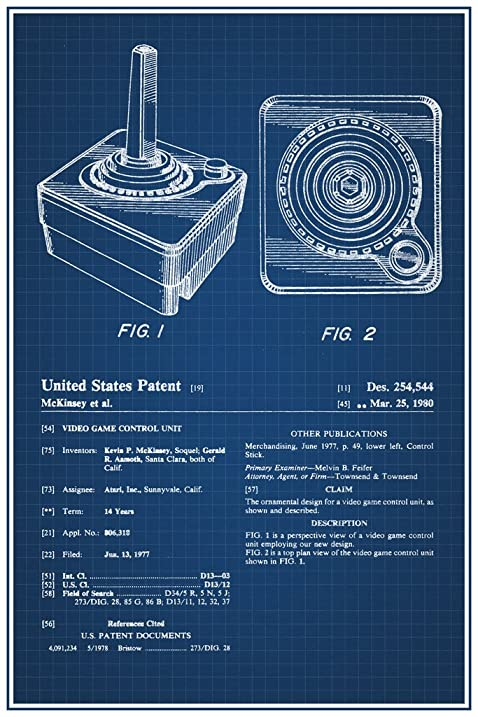Amazon joystick atari 2600 video gaming official patent joystick atari 2600 video gaming official patent blueprint poster 12x18 malvernweather Images