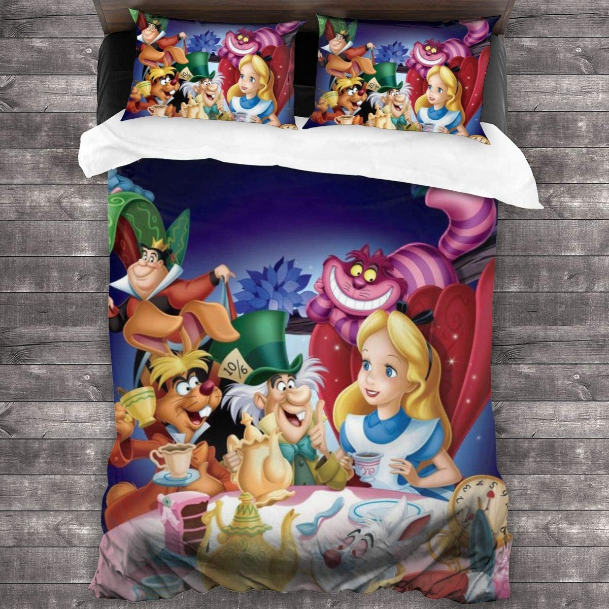 GUOZX Colorful Alice in Wonderland 3 Piece Bedding Sets, with 1 Quilt Cover+2 Pillow Shams, Twin Size - 86¡±x70