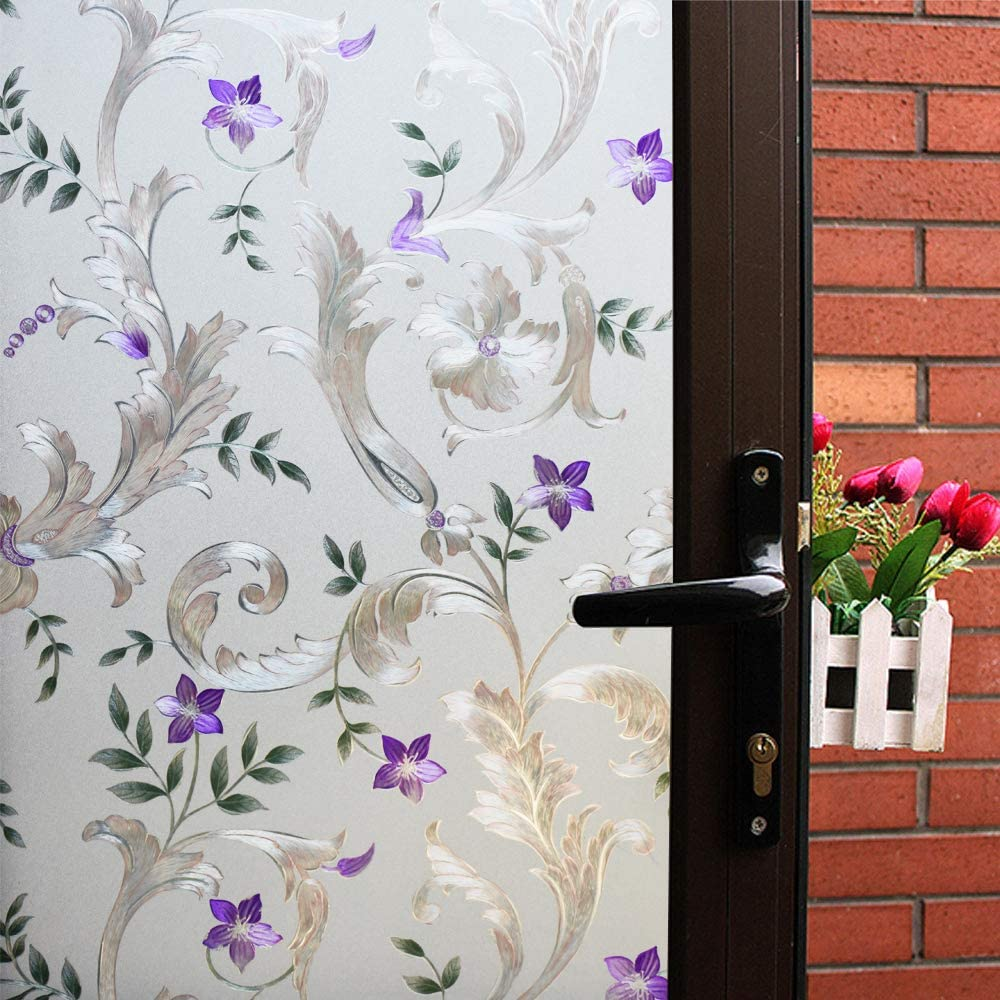 Mikomer Decorative Window Film Purple Flower,Privacy Door Film,Static Cling Glass Film,No Glue Stained Glass Anti UV Window Paper for Bathroom,Office,Meeting Room,Bedroom,23.6 inches by 118 inches