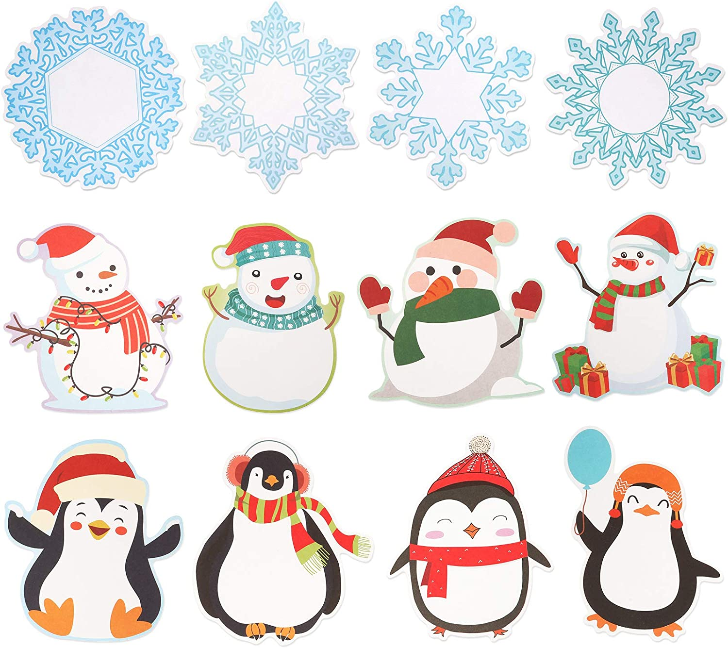 72 Pieces Winter Colorful Mix Cut-Outs Snowflakes Snowman Penguin Cutouts Classroom Decoration for Craft Bulletin Board School Christmas Party