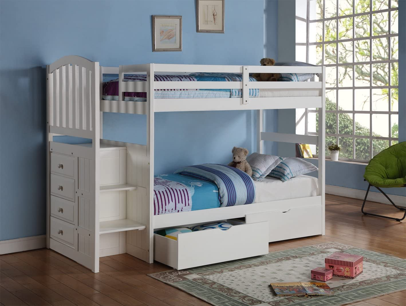 Donco Kids Arch Mission Stairway Bunk Bed White/Twin/Twin/W/Dual UNDERBED Drawer
