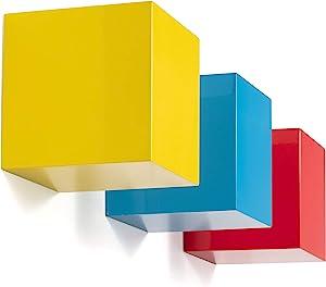 brightmaison Kid's Nursery Room Decorative Square Shelf Decor Set of 3 Wall Cubes Floating Block Shelves (Multi)