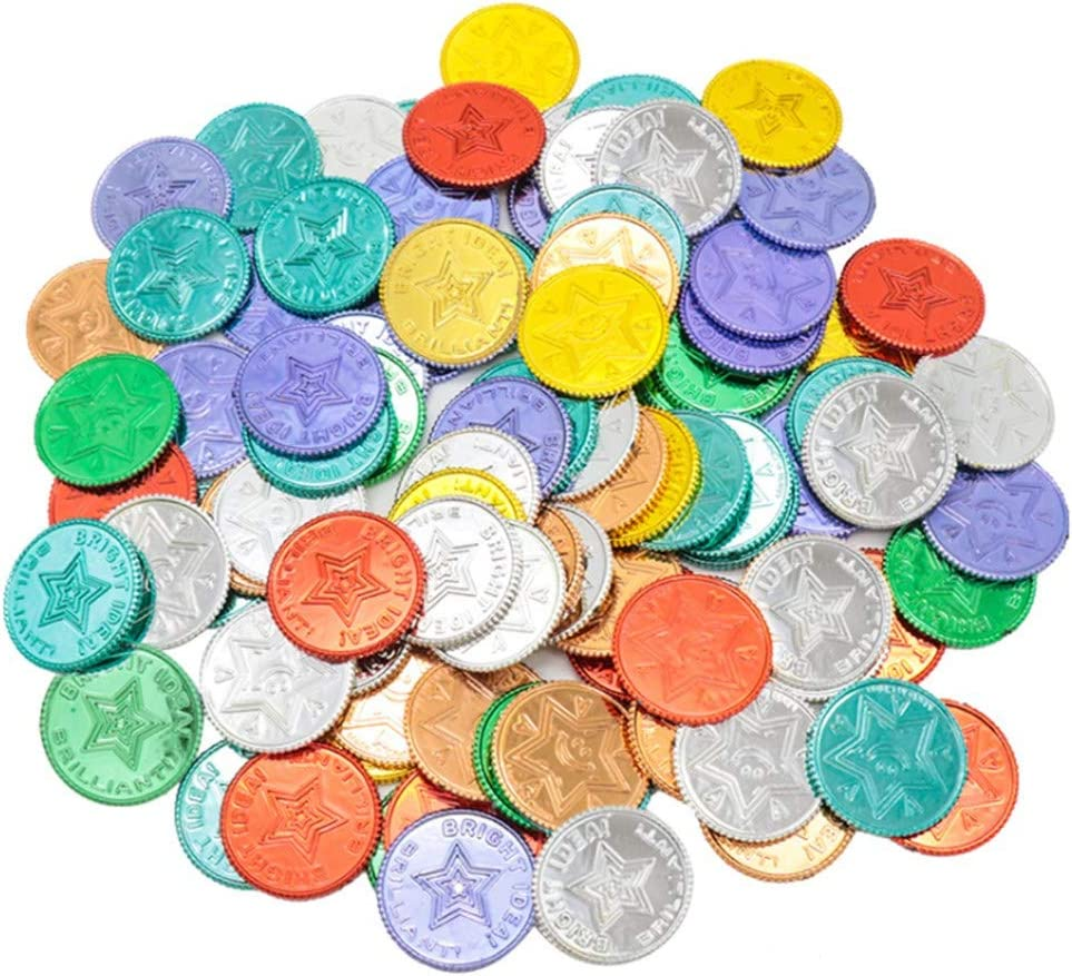BSOA Pirate Gold Coins, 100PCS Plastic Gold Coins Toy Treasure Game for Christmas Activity