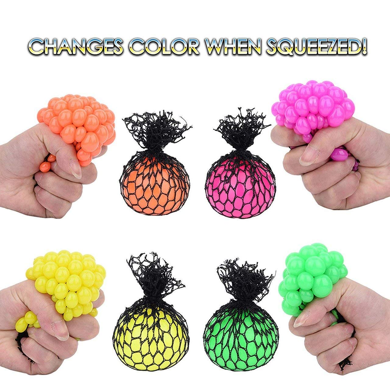 Totem World 36 Colorful Sewn Mesh Stress Balls - 2.4'' Squishy Fidget Toy Perfect for Kids and Adults Materials for Lasting Use - Squeeze Balls for Anxiety and Concentration - Great Party Favors by Totem World (Image #2)