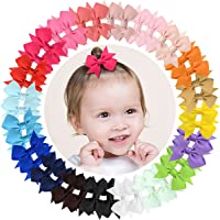 """40pcs Baby Girls Clips 2"""" Grosgrain Boutique Solid Color Ribbon Mini Hair Bows Clips for Baby Girls Teens Infants Kids…"""