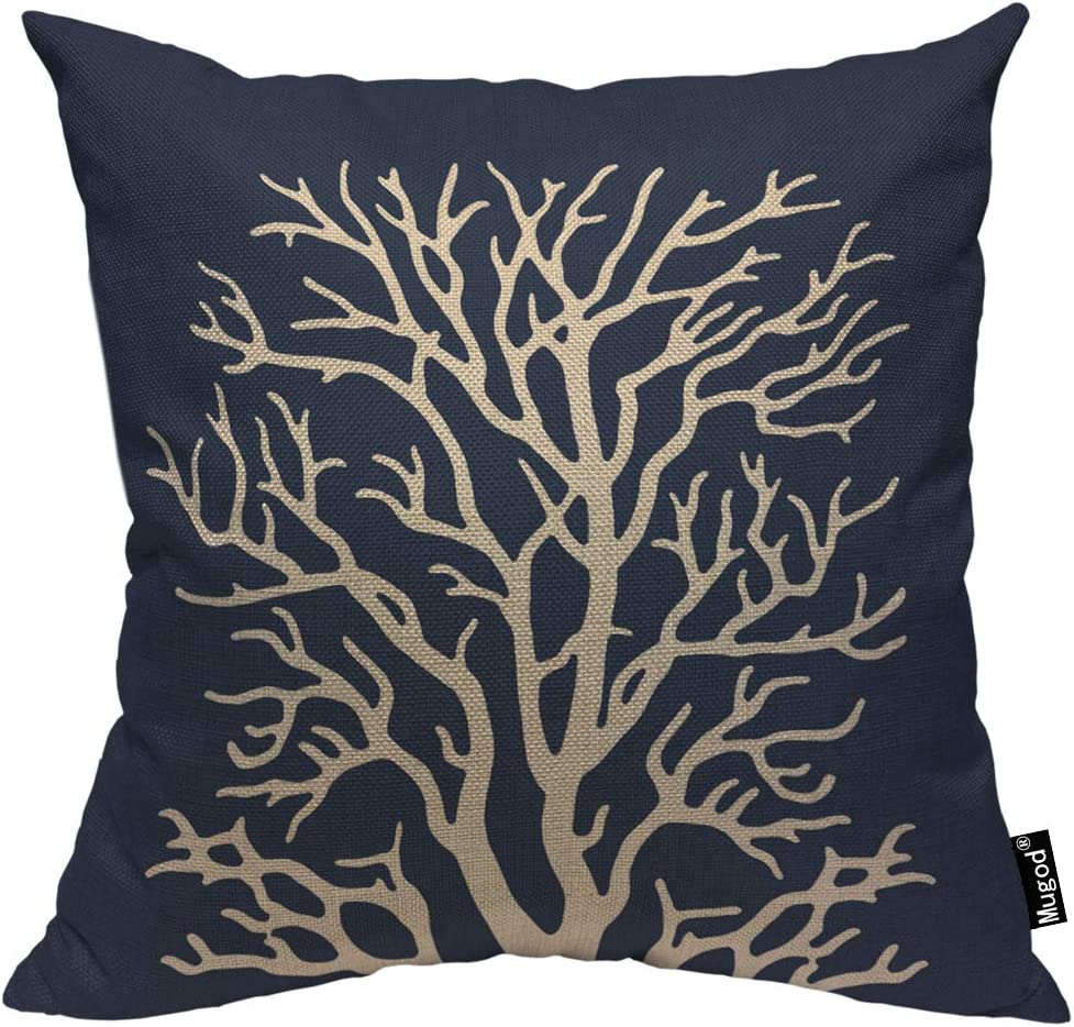 Mugod Coral Throw Pillow Coral Reef Irregular Shape Exotic Beautiful Plant Navy Blue Cotton Linen Square Cushion Cover Standard Pillowcase 18x18 Inch for Home Decorative Bedroom/Living Room/Car