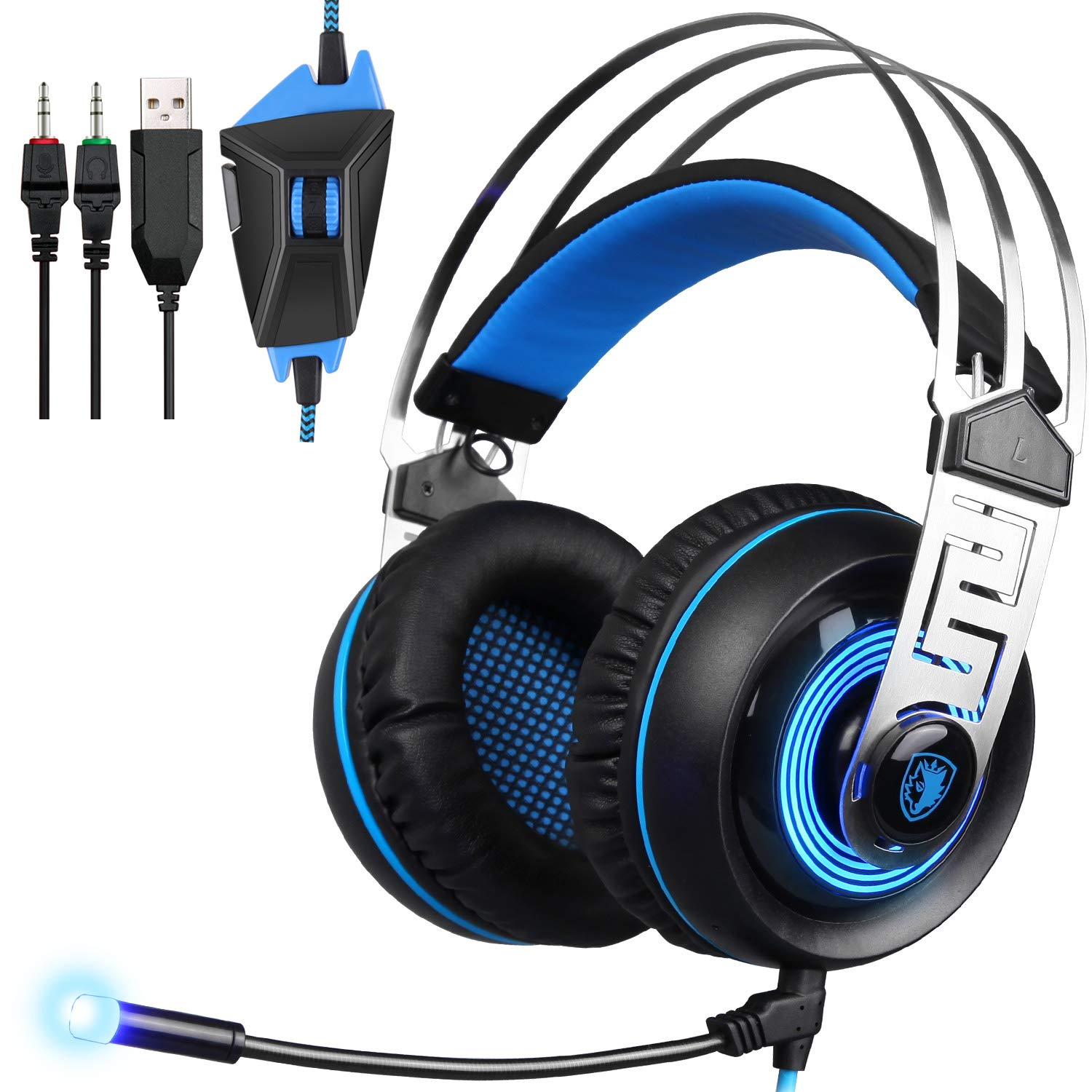 Gaming Headset Compatible Xbox One, SADES PS4 Headset with Mic, PC, Noise Cancelling Over Ear Headphones with LED Light Bass Surround Soft Memory Earmuffs Compatible Mac Laptop Choyur