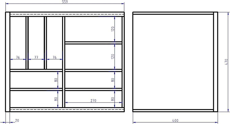 Hansmeier Gmbh T/élescope Bois Tiroirs Bac /à Couverts T/élescopique 80-100 cm H/être Massif 80100-BuNat