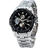 CURREN Stylish Quartz Movt Stainless Steel Watchband Mens Wrist Watch-8083Silverblack (Silverblack)