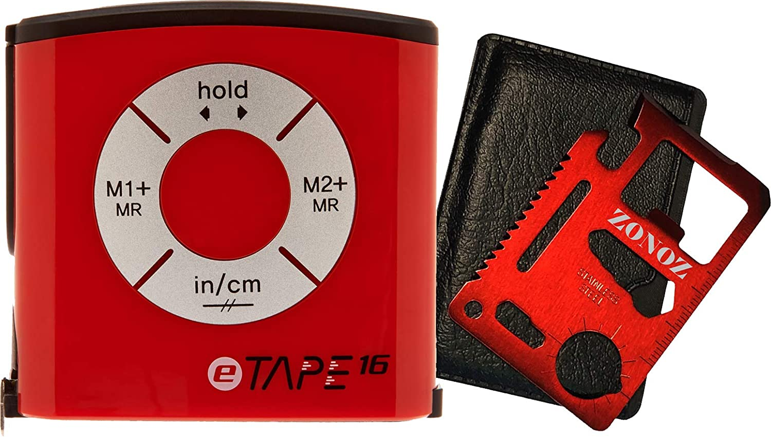 eTape16 ET16.75-DB-RP Digital Tape Measure, 16, Red, Inch and Metric & Zonoz 11 in 1 Multipurpose Mini Portable Wallet Size Pocket Multi-Z-Tool ...