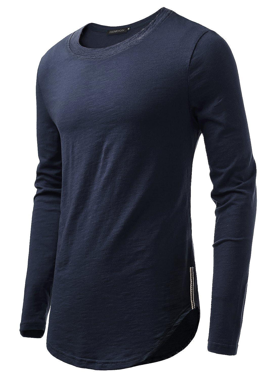 HEMOON Men's Long Sleeves Casual Solid Shirts Hipster Hip Hop Longline T-Shirt Side Trim