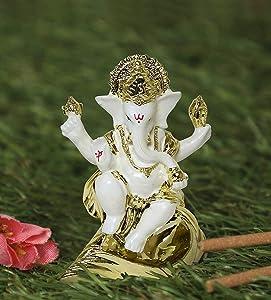 TIED RIBBONS Gold Plated Ganesh Idol (3 inch x 2.3 inch, White) - Ganpati Idol for Home Décor car Dashboard