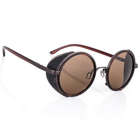 Occhiali da sole Specchio Occhiali Rotondi Retro Vintage Uomo Dona rispecchiata Sunglasses 100%UV400 MFAZ Morefaz Ltd (Gold Mirror Blue Lens) dhhxp9U1