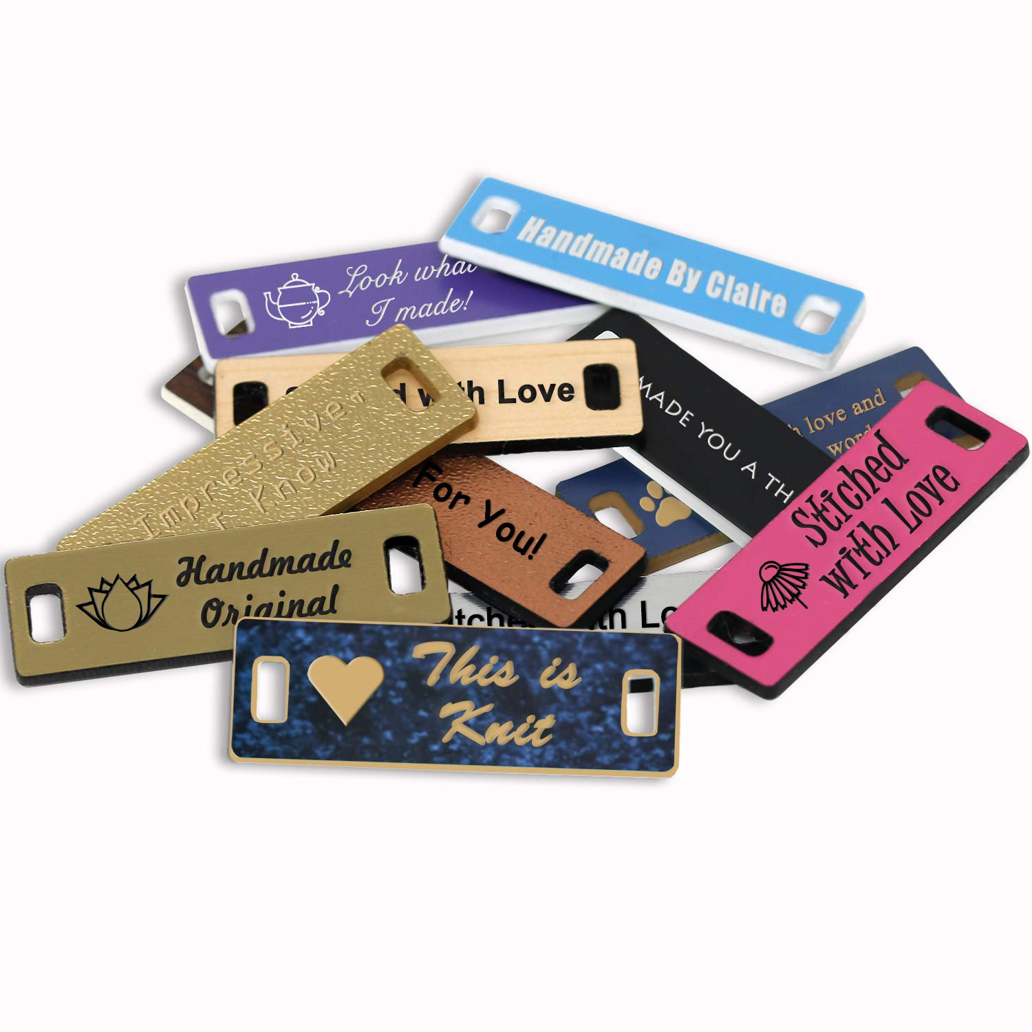 LHS Engraving | Personalized Hand Made Tags Custom Engraved Celestial Blue Plastic Sewing & Knitting Labels Gold Lettering USA - S1