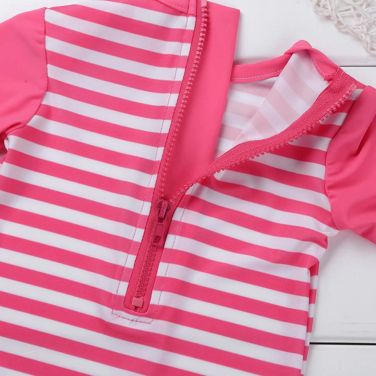 One Piece Rash Guard Swimsuit iEFiEL Little Baby Girls Long Sleeve Zip Sunsuit UPF 50