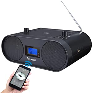 Vanku Rechargeable Radio CD Player for Home Portable Boombox with Wireless Streaming, FM, USB AUX Headphone Jack, Support MP3, Sleep Timer