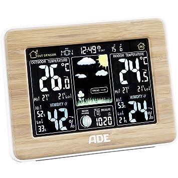 ADE WS1703 Estación meteorológica digital con radio-reloj-alarma y sensor externo, color