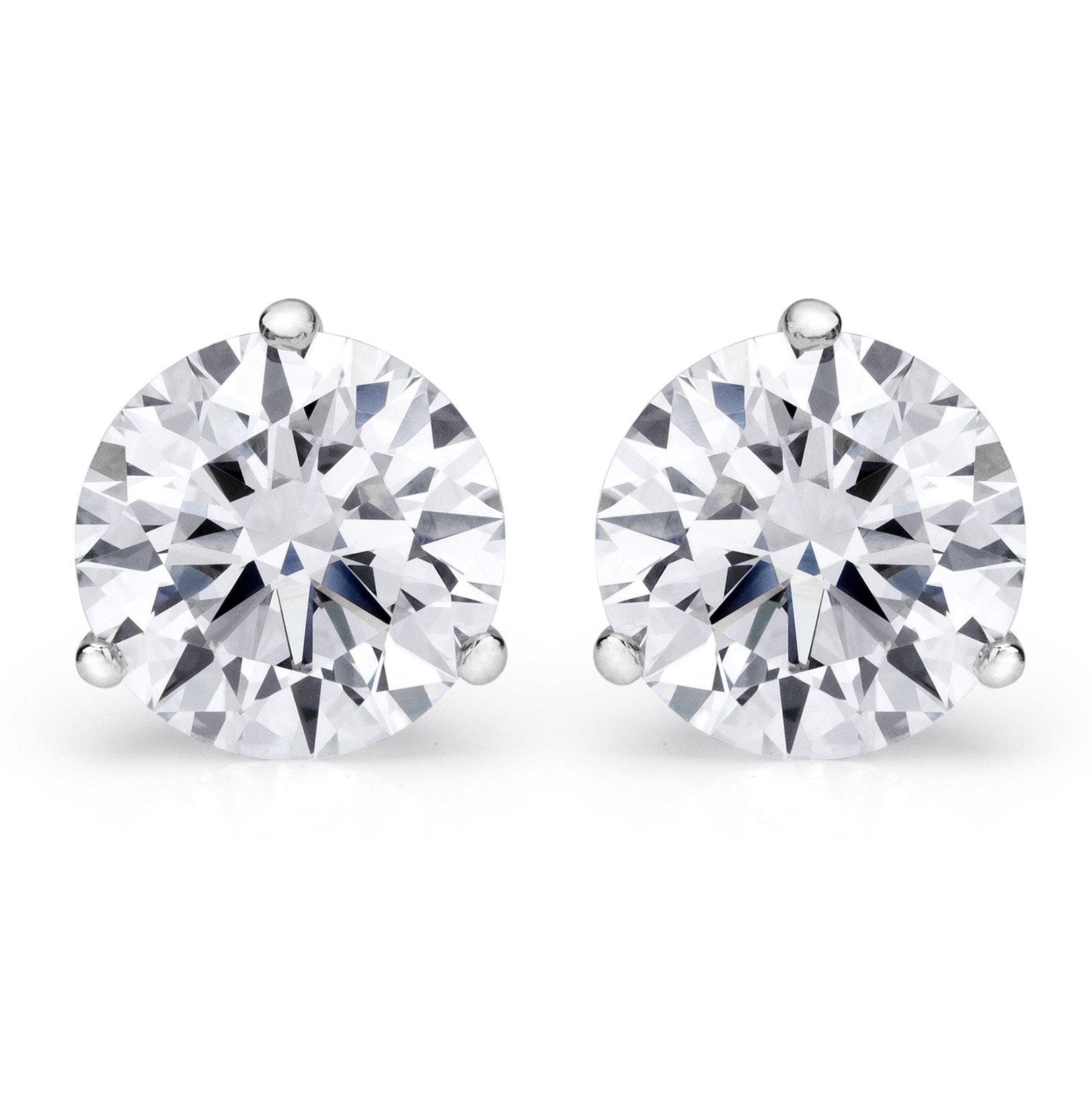 2 Carat IGI Certified Round Diamond Stud Earrings Platinum 3 Prong Push Back J-K SI1-SI2