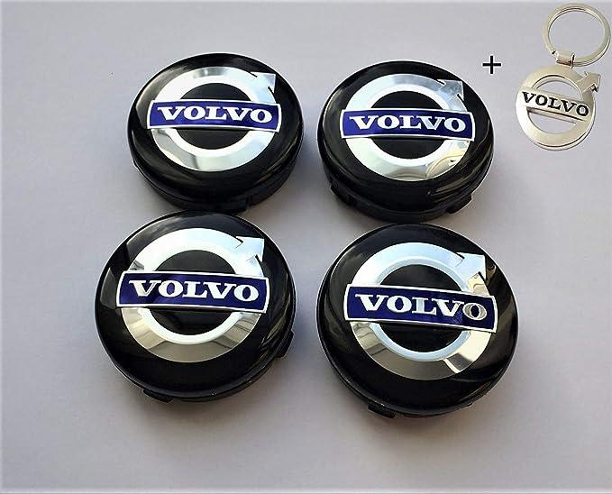 4 x Tapacubos Volvo 64mm Tapas centrales,1 Llavero gratisg en Llantas de aleación,Rueda Homenaje con Logo de Volvo, xc40 60 90 VSC 30