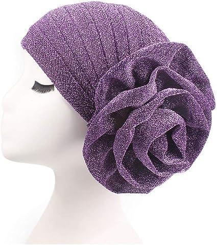 Lady Velvet Big Flower Muslim Cancer Chemo Hat Hair Loss Head Scarf Turban Cap