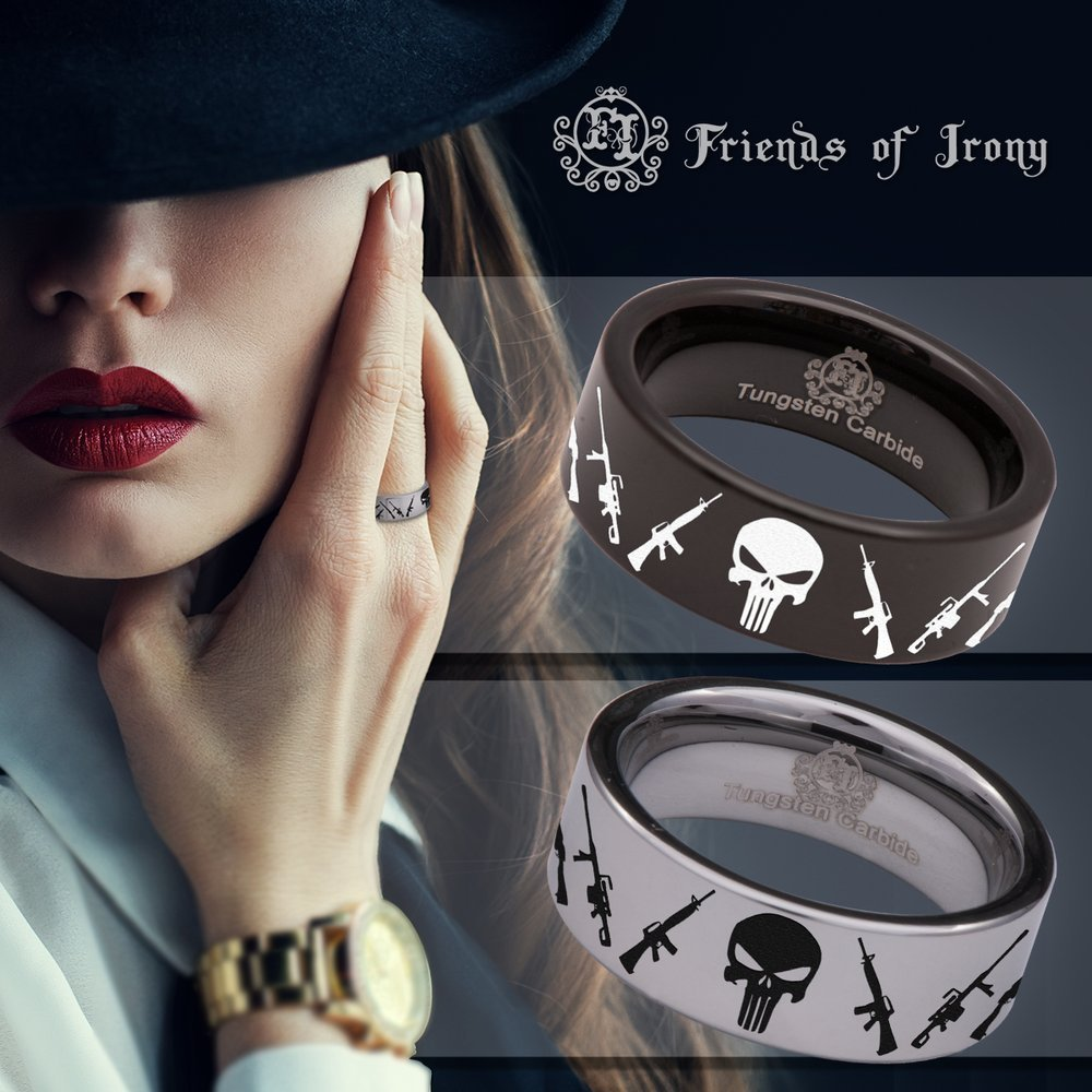 Wedding Band and Anniversary Ring Friends of Irony Black Tungsten Guns and Skull Ring 8mm Designed Fit for Men and Women Use Size 11
