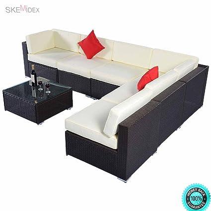 Wondrous Amazon Com Skemidex 7Pc Furniture Sectional Pe Wicker Ibusinesslaw Wood Chair Design Ideas Ibusinesslaworg
