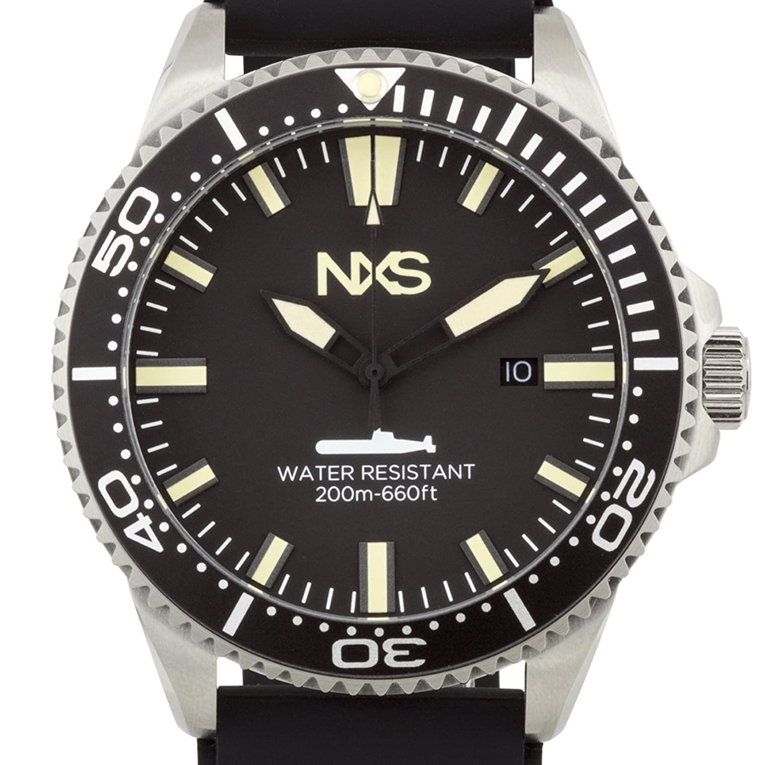 NXS Ocean Warrior Swiss Diver Mens Watch with Unidirectional Tachymeter Bezel