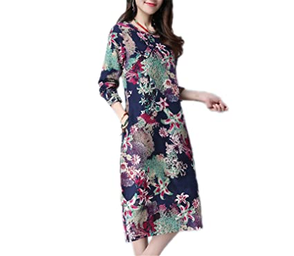 WalterTi Fashion cotton linen vintage print women casual loose autumn dress vestidos femininos party dresses Blue