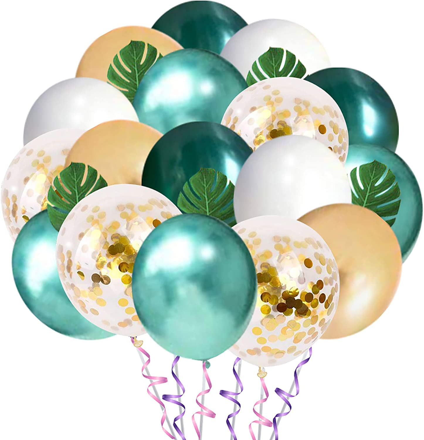 Jungle Theme Party Balloons 50 Pack, 12 Inches Green White Gold Latex Balloons with 10pcs Palm Leaves for Baby Shower, Tropical, Birthday Party Decorations