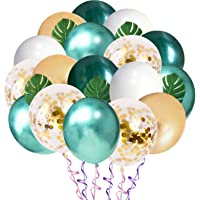 Jungle Theme Party Balloons 50 Pack, 12 Inches Green White Gold Latex Balloons with 10pcs Palm Leaves for Baby Shower…