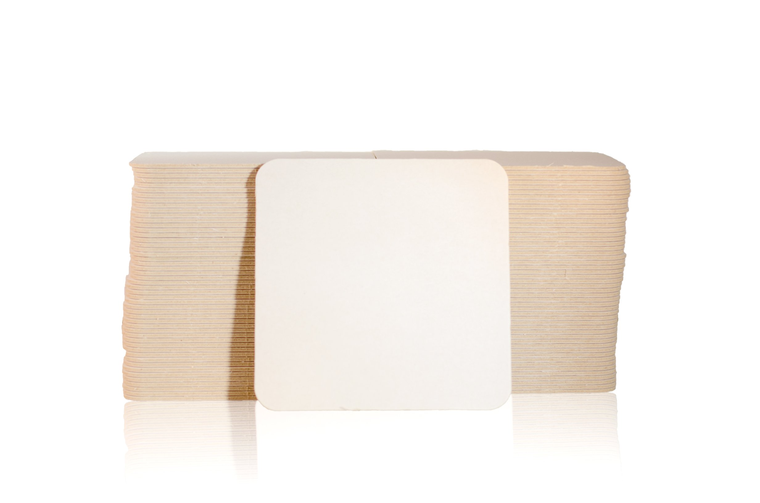 Katz Americas 4'' Square Heavyweight (35pt) Blank Pulpboard Coaster (Case of 1,000)