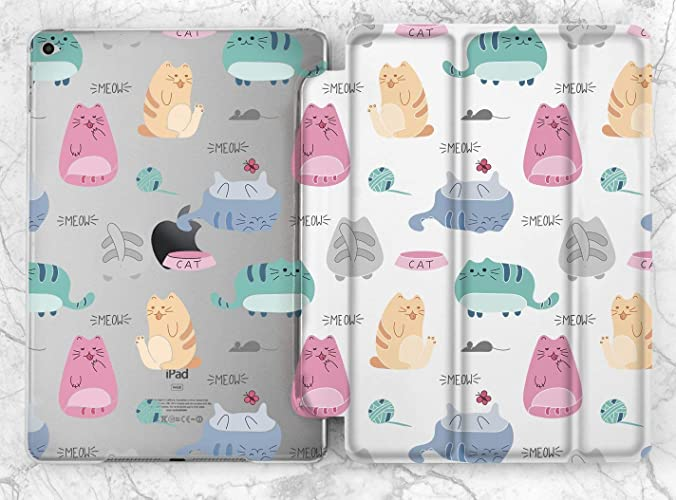 0b4fdfb5d3a0 Amazon.com  Cute Colorful Pastel Cat Pattern Case For Apple iPad Mini 1 2 3  4 iPad Air 2 iPad Pro 9.7 10.5 12.9 inch iPad 9.7 inch 2017 2018  Handmade