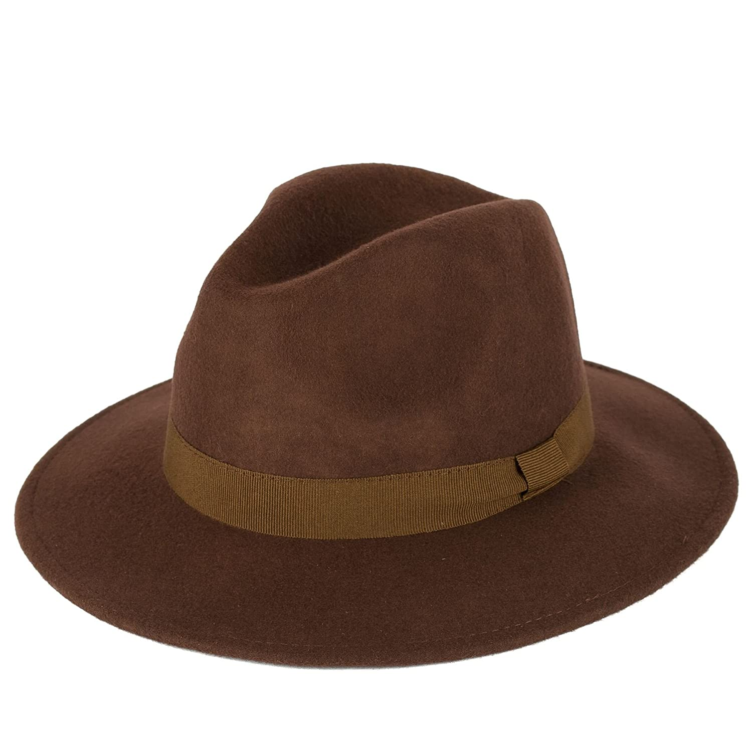 32cdfd8bc852ce Men's Ladies Handmade Fedora Hat Made In Italy 100% Wool Felt Bow Style  Band - Brown (61/XL): Amazon.co.uk: Clothing
