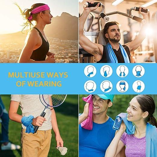 Bainuojia Lot de 6 serviettes de refroidissement en microfibre /à s/échage rapide Serviette de refroidissement ultra compacte pour lentra/înement le yoga,le camping 30 x 100 cm la gym le fitness