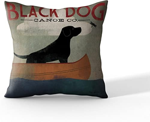 Cortesi Home Black Dog Canoe by Ryan Fowler Decorative Soft Velvet Square Accent Throw Pillow with Insert, 18 x 18 , Orange