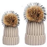LOKIDVE 2PCS Parent-Child Fur Pompom Knit Hat Mom Kids (5-13Y) Winter Warm Beanie Cap