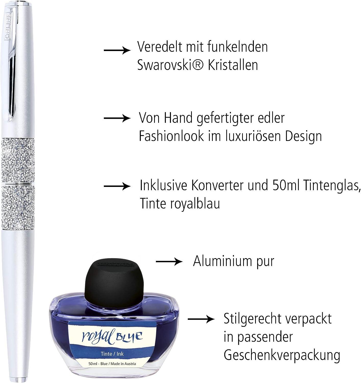 ONLINE F/üllhalter Crystal Celebrities Black inkl in hochwertiger Geschenkverpackung mit Kristallen von Swarovski/® Federst/ärke M Tintenkonverter