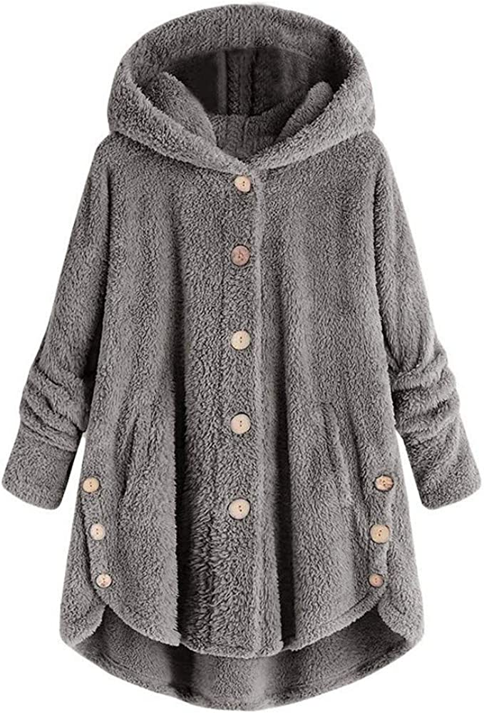 Manteau Chaud Polaire De Dames d'hiver,Veste à Capuche Boutonnée Confortable,Sweat à Capuche De Couleur Unie à La Mode (S 5XL)