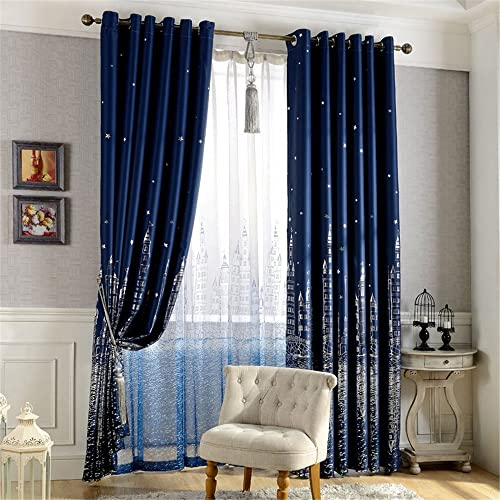 MEILIANJIA Navy Blue Castle Printing Multi Size Optional Thermal Insulated Blackout Energy Saving Custom Curtains 100″ W x 102″ L One Panel ,Navy Blue