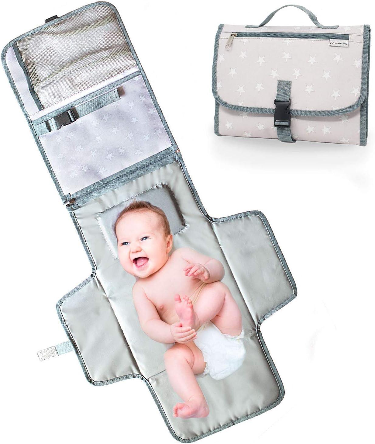 bolso Cambiador Portátil para bebé–Cambiador Plegable de viaje–2bolsillos internos 1Externa–Cambia Los pañales en Cualquier sitio con el kit Cambiador de viaje 30x 20x 4cm