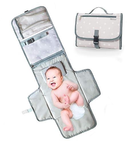 bolso Cambiador Portátil para bebé – Cambiador Plegable de viaje – 2 bolsillos internos 1 Externa – Cambia Los pañales en Cualquier sitio con el kit ...