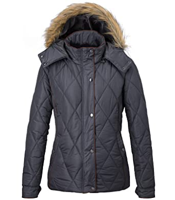 01c699abb390 Wantdo Women s Fur Hooded Quilted Puffer Jacket Winter Coat Thick Diamond Coat  Dark Grey Small