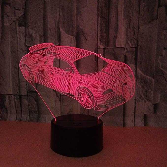 BFMBCHDJ Nuevo coche deportivo 3D Luz nocturna Control remoto ...