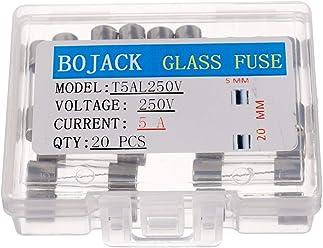 BOJACK F10AL250V 5x20 mm 10A 250V Schnell schmelzen Sicherungen 10 Ampere 250 Volt 0,2 x 0,78 Zoll Glasr/öhren sicherungen Packung mit 20 St/ück