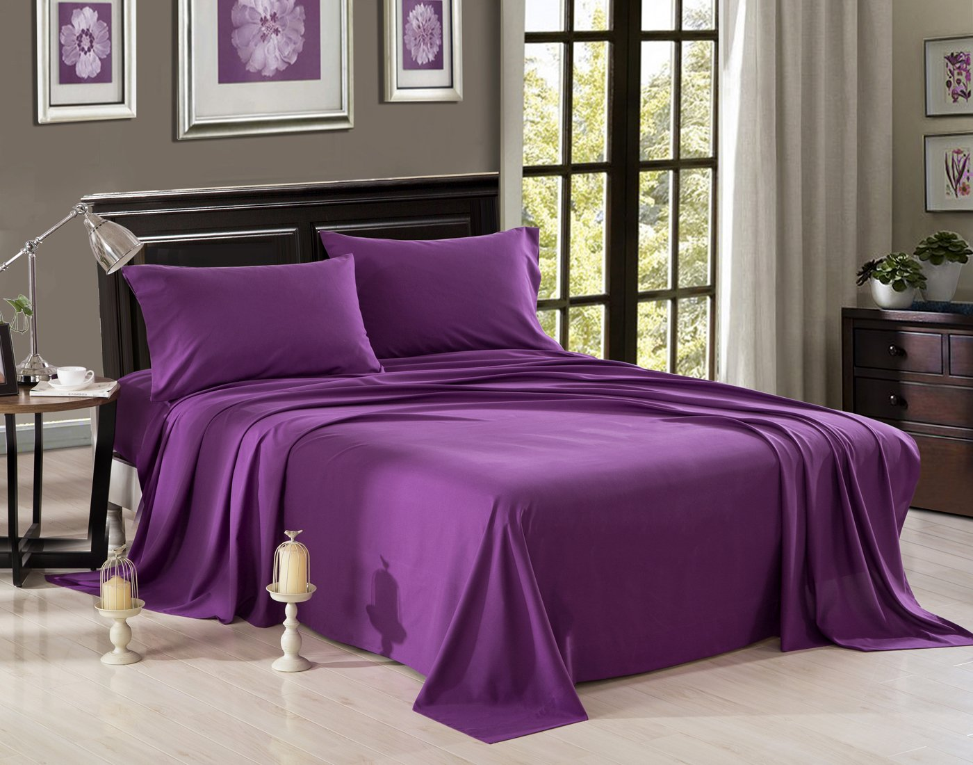 HONEYMOON HOME FASHIONS Brushed Microfiber Queen Bed Sheet Set, Purple - 100% polyester microfiber Includes: (1) Flat Sheet 90 x 102 inch; (1) Fitted Sheet 60 W x 80 L inch; (2) Pillowcases 20 x 30 inch; pillow insert sold separately This set is made of premium polyester fabric which is highly durable and lasts longer than average polyester sheet sets. A great gift for family and friends. Makes the perfect gift for any occasion - sheet-sets, bedroom-sheets-comforters, bedroom - 71uSMs9ETeL -