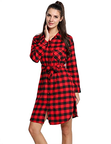 bb6f73b9e96 Ronshe Fashion Women Lady Long Sleeve Plaid Check Straight Tunic Casual  Blouse Shirt Dress with Belt Dresses  Amazon.in  Clothing   Accessories