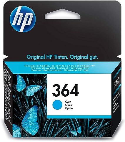 Oferta amazon: HP 364 CB318EE Cian, Cartucho Original, de 300 páginas, para impresoras HP Photosmart serie C5300, C6300, B210, B110 y Deskjet serie 3520
