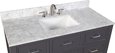 New Hampshire 48 Inch Bathroom Vanity Carrara Charcoal Gray Includes Charcoal Gray Cabinet With Authentic Italian Carrara Marble Countertop And White Ceramic Sink Amazon Com