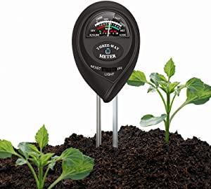 MoonCity Soil pH Meter, 3-in-1 Soil Test Kits with Moisture,Light and PH Tester Plant Water Meter for Garden, Farm, Lawn, Indoor & Outdoor (No Battery Needed)