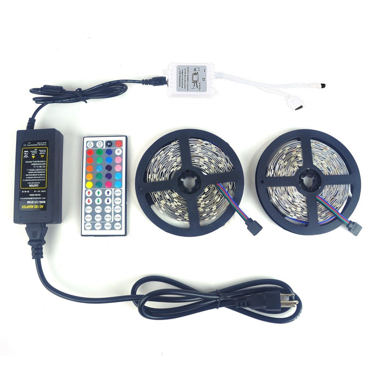 LEDNICEKER 2 Reels 5050 LED Strip Lights - 32.8ft / 10M Flexible 5050 RGB LED Light With 44key LED Controller and DC 12V5A Power Adapter